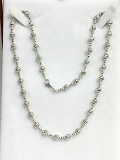 """18k Solid White Gold Italian Beaded Chain Necklace, Diamond Cut, 9.22 Grams. 16"""""""