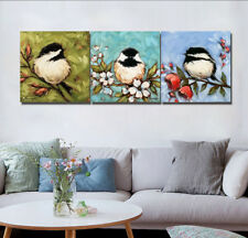 Spring Birds in Branch Painting Abstract Canvas Print Art Wall Decor Set Frame