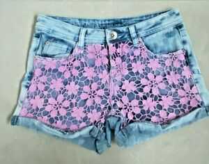 Justice Premium Jeans shorts with purple lace detail size 14
