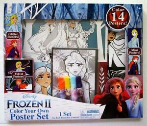 Disney FROZEN II 2 Color Your Own velvet Poster Set 14 Posters With Markers NIB