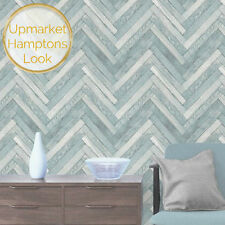 Beachy Blue Herringbone Parquetry Wood Wallpaper HAMPTONS Coastal Vintage Look