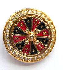 Swarovski Crystal Casino Roulette Wheel Brooch Enamel and Crystals