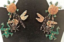 Vtg Lunch At The Ritz Swamp Pierced Earrings 1987 Turtle Frog Spider Dragonfly