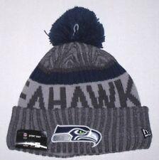 6fc8fea4484 Nwt New Seattle Seahawks Logo Football Beanie Cap Hat Roll Cuff PomPom Gray  Men