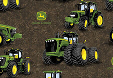 "16"" REMNANT  JOHN DEERE TRACTOR PROVEN POWER  FARM SPRING CREATIVE COTTON FABRIC"