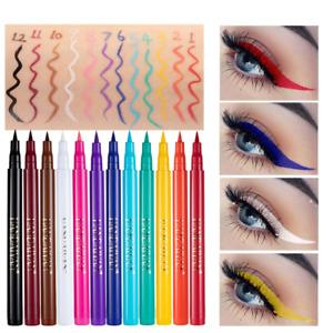 12 Colors Liquid Eyeliner Pencil Waterproof Colorful Eye Liner Make Up Cosmetics