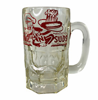Vintage Dog N Suds Large Heavy Clear Glass Mug Advertising