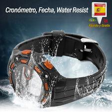 Reloj LED de Hombre Digital Deportivo Resistente al Agua Crono Naranja Relojes