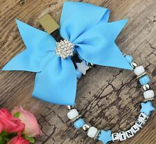 Personalised stunning pram charm in bay blue for baby boys