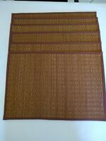"Placemats set of 6 Wooden Woven Rust Colored Pre-owned 19"" x 13"" Roll up easy"