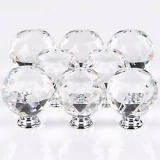 8pcs Clear Diamond Crystal Glass Door Knobs Handles Drawer Wardrobe Cabinet