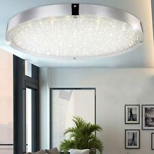 LUXE 30W LED Lampe de Plafond Chrome Verre Cristaux 4000K Rond LA VIE ESS