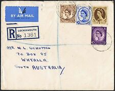 1952-54 QEII 3d, 4d, 5d & 1/- on Jan 1955 reg'd airmail cover to SA TS545