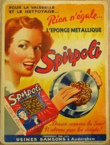 Art Deco 1940s Window Advertising Decal/Sign: Spirpoli Steel Wool, Artist-Signed