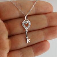 Heart Skeleton Key Necklace - 925 Sterling Silver CZ Pendant Keys Love Gift