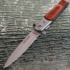 """9"""" TAC FORCE SPRING ASSISTED TACTICAL RESCUE WOOD FOLDING POCKET KNIFE OPEN"""