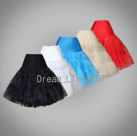 5 Colors Tea Length Dress Silps Crinoline Petticoat Short Skirts TUTU  UK Stock