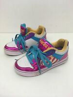 GIRLS HEELYS PINK PURPLE BLUE YELLOW SKATE SHOES LACE UP TRAINERS UK 2 EU 34