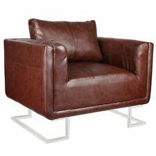 vidaXL Luxury Cube Armchair with Chrome Feet Brown Club Accent Chair Furniture
