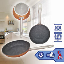 3x Non Stick Aluminium Frying Pan Copper Marble Coated Induction Hob Cooking