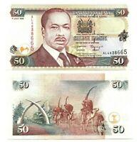 KENYA 50 Shillings (1998) P-36c UNC Banknote depicting Arap Moi Paper Money