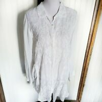 Johnny Was White Lace Long Sleeve Button Down Tunic Shirt Top Blouse Medium M