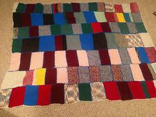 Granny Square Afghan Blanket Throw Crochet Knit Handmade Vintage 70X56