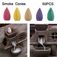 50 pcs Multi-Color Natural Incense Cones Sandalwood Backflow Tower Burner Holder