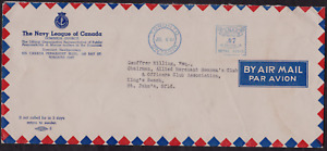 1944 Navy League Of Canada to Officers Club,Newfoundland Metered Airmail Cover