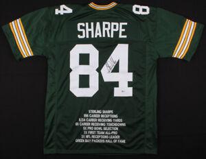 Sterling Sharpe Signed Green Bay Packers Career Highlight Stat Jersey (Beckett)