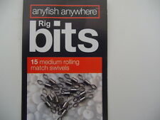 ANYFISH ANYWHERE RIG BITS 15 MEDIUM ROLLING MATCH SWIVELS - FREE UK P & P