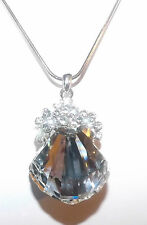 Necklace Swarovski Crystal Elements - Fan/Shell Multi-Faceted -  Rhodium Plated