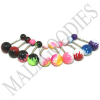 W037 Acrylic Belly Naval Rings Bar Barbells Flames Shape Color Design LOT of 10