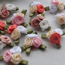 E227 New Satin Ribbon Rose W/leaf  Handicraft Appliques Ornament accessory Upick