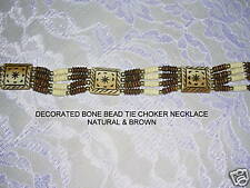 NATURAL & BROWN ALPACA CAMEL BONE BEAD DECO SOUTHWESTERN CHOKER NECKLACE