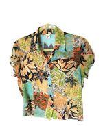 Vintage M L Crazy Pattern Colourful Monstera Plant Leaf Chiffon Blouse Shirt