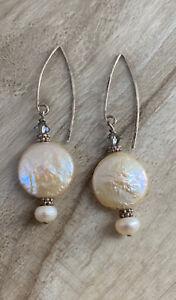 "Coin Pearl Sterling Silver Dangle Earrings 2"" L"