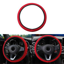37-39cm Luxury Red 3D Mesh Fabric Car Steering Wheel Cover Breathable Non-Slip