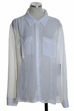 NWT GUESS Charlotte Sheer Point-Collar Pockets Shirt Blouse Top White Size XL
