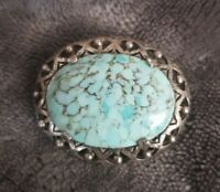 Vintage MIRACLE Jewellery Arts & Crafts style Turquoise glass cabochon brooch