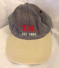 Vintage Tommy Hilfiger T.H. Est. 1985 Strapback Dad Hat Cap Gray With Cream Bill