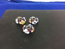 3 Bauble LuLu Beads Murano Glass Blue Bead W Flowers 3 Dimension Charm Bracelet