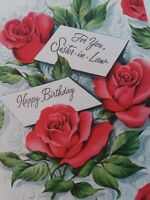 UNUSED Vtg SISTER IN LAW Embossed Roses BIRTHDAY GREETING CARD