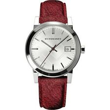 New Burberry Women's City Watch Red Leather Strap 34mm Bu9123
