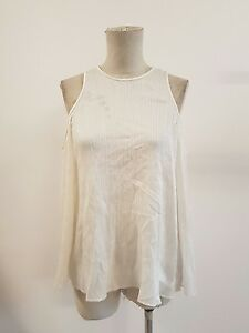 Ginger and & Smart: Tidal Pleated Silk Cotton Top in Ivory, Size 8