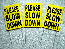 """(3) PLEASE SLOW DOWN  Coroplast SIGNS with stakes 8"""" x 12"""" Children Safety Sign"""