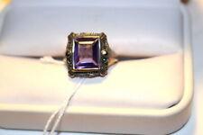#6918,Vintage Sterling Ring, Emerald Cut 3 Ct Purple Amethyst w Marcasites Deco