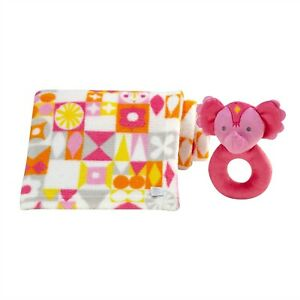 It's a Small World Printed Blanket w/Elephant Rattle Ring by Disney Baby