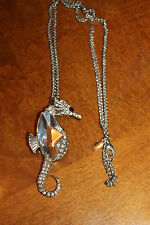 Kenneth Jay Lane Seahorse Pendant Necklace - Silver Plated Chain - New