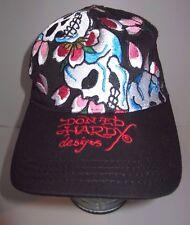 Don Ed Hardy Trucker Hat -  Skulls & Flowers - Medallion Button - Snapback